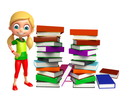 kid girl with Book stack