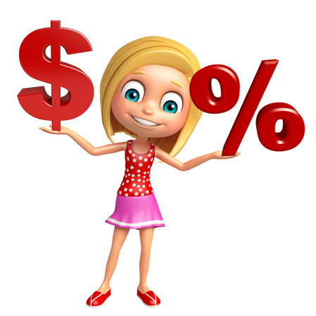 kid girl with Doller sign and Percentage sign