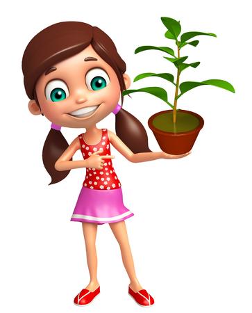kid girl with Plant Zdjęcie Seryjne