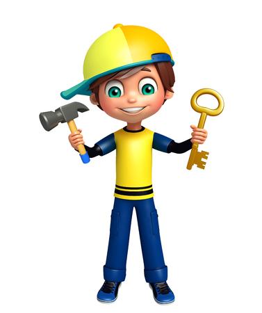 kid boy with key ,hammer