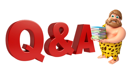 qa: Caveman with Q&A sign