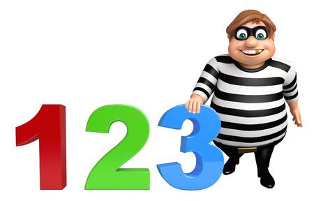 Thief with 123 sign