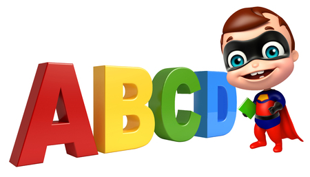 heroic: cute superbaby with ABCD sign Stock Photo