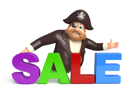 Pirate with Sale sign