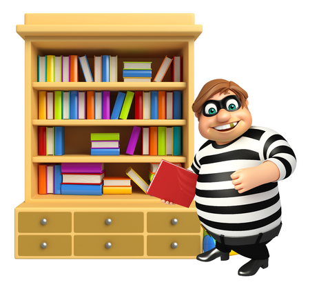 Thief with Book shelves & book