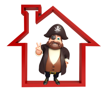 Pirate with Home sign Stock Photo