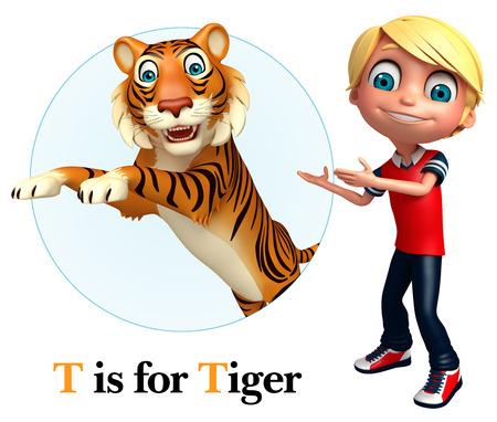 kid pointing: Kid boy pointing Tiger