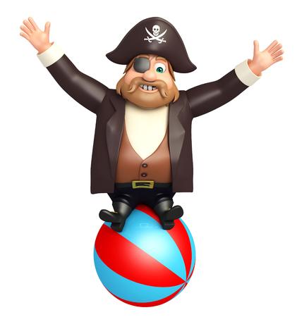 big ball: illustration of pirate with big ball