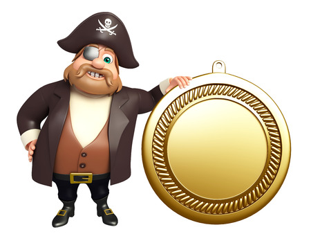 tricorne: 3d rendered illustration of Pirate with medal