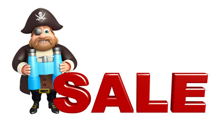 tricorne: Pirate with Sale sign & Binocular