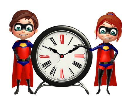 supergirl: Superboy and Supergirl with Clock Stock Photo