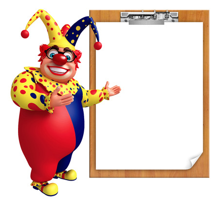pad: Clown with Exam pad Stock Photo