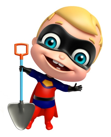 digging: cute superbaby with Digging shovel Stock Photo