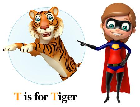 super girl: Super girl pointing tiger