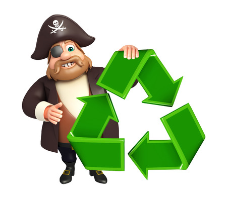 tricorne: Pirate with Recycle sign Stock Photo