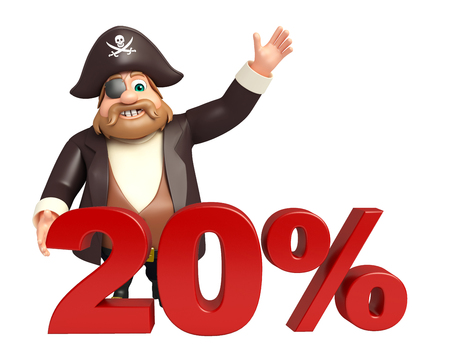 20: Pirate with 20% sign