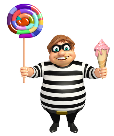 loot: Thief with Ice cream & Lollypop Stock Photo