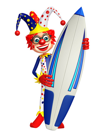 surface: Clown with Surface board Stock Photo