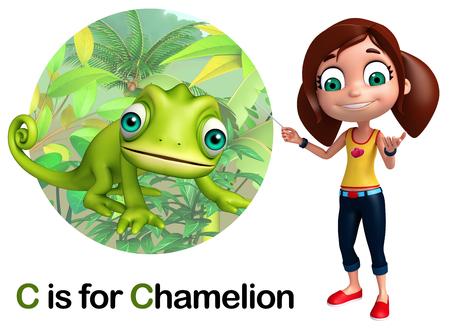 chamelion: Kid girl pointing Chamelion