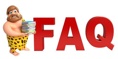 Caveman with FAQ sign