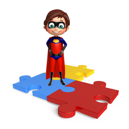 superboy: Superboy with Puzzle Stock Photo