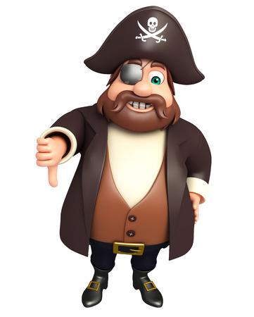 cross bone: Pirate with thumbs down