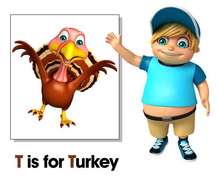 Kid boy pointing Turkey