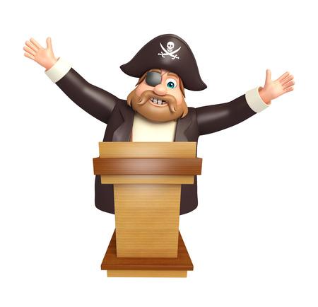 tricorne: Pirate with Speech stage Stock Photo