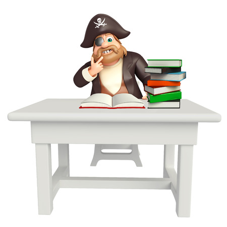 Pirate with Table & chair,book,book stack