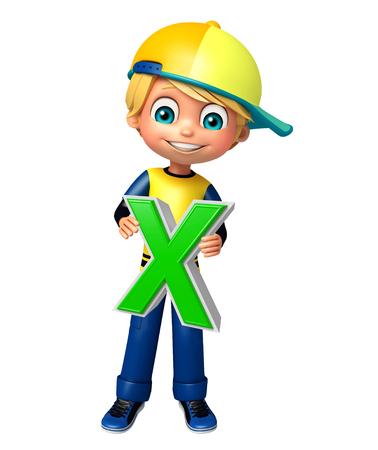 kid boy with X alphabate Stock Photo
