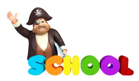 Pirate with School sign