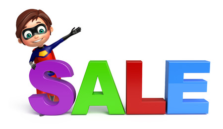 superboy: Superboy with Sale sign Stock Photo