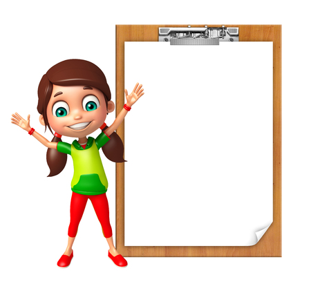 kid girl with Exam pad