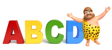 abcd: Caveman with ABCD sign