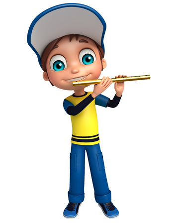 flute: Kid boy with Flute Stock Photo