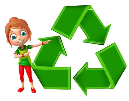 niños reciclando: muchacha niño con reciclaje