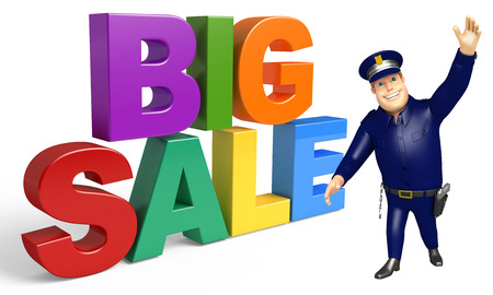 Police with Big sale sign