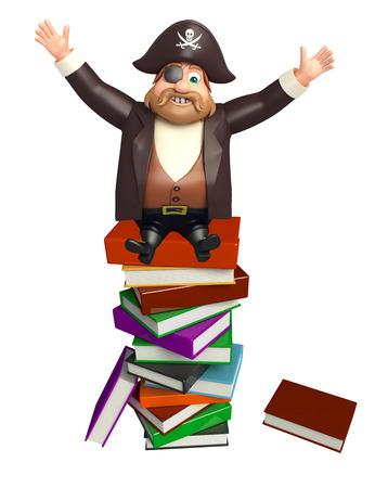 tricorne: Pirate with Book stack Stock Photo
