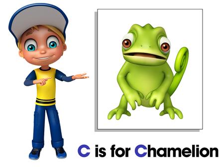 chamelion: Kid boy pointing Chamelion Stock Photo