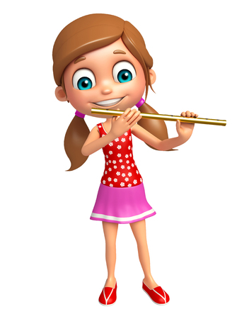 flute: Kid girl with Flute Stock Photo