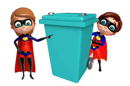 supergirl: Superboy and Supergirl with Dustbin Stock Photo