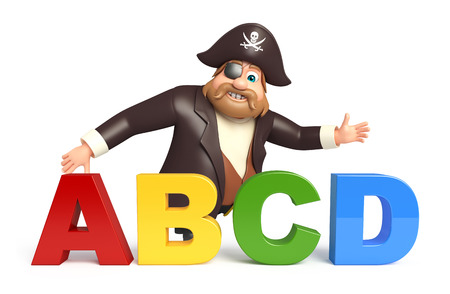 abcd: Pirate with ABCD sign