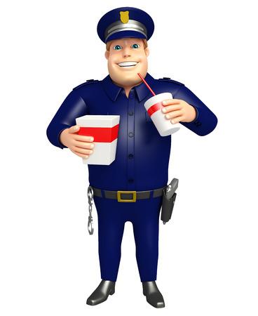 ソフトド リンク、ポップコーンと警察