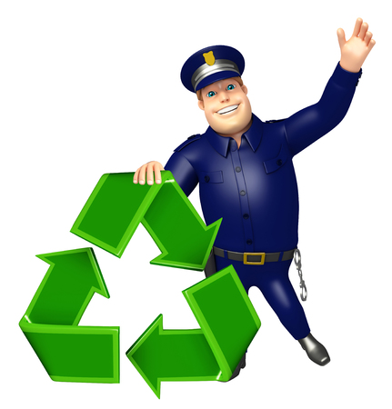 Police with Recycle sign
