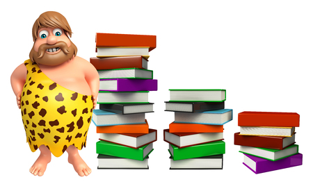 Caveman with Book stack Stock Photo