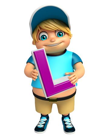 l boy: kid boy with L alphabate Stock Photo