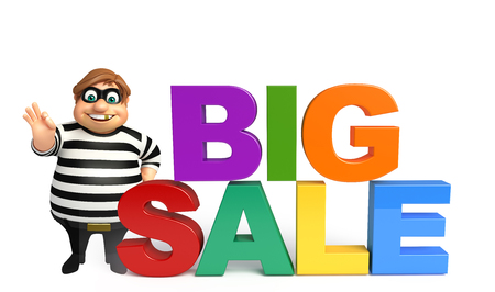 loot: 3d rendered illustration of thief with sale sign Stock Photo