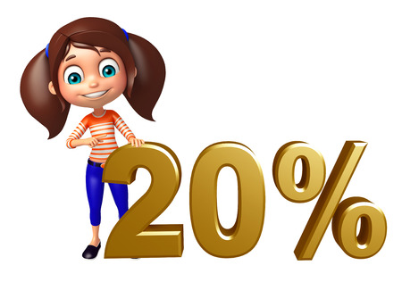 20: kid girl with 20% Sign Stock Photo
