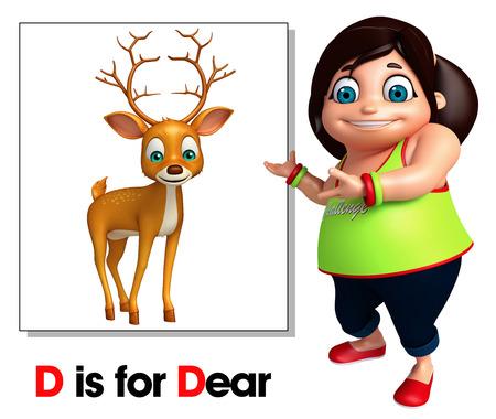 kid pointing: Kid girl pointing Deer