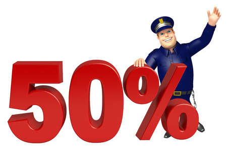 Police with 50% sign